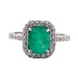 1.96 ctw Emerald and Diamond Ring - 14KT White Gold