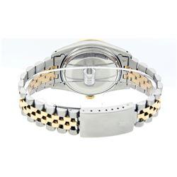 Rolex Mens 2 Tone Silver & Emerald Diamond Oyster Perpetual Datejust 36MM