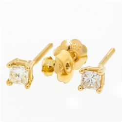 New 14K Yellow Gold Princess Cut Solitaire Stud Earrings