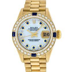 Rolex Ladies 18K Yellow Gold MOP Sapphire President Wristwatch With Rolex Box