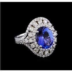 3.47 ctw Tanzanite and Diamond Ring - 14KT White Gold