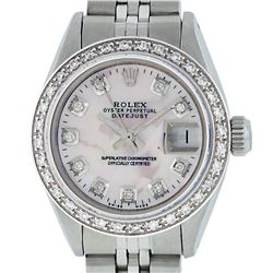 Rolex Ladies Stainless Steel Pink MOP Diamond 26MM Oyster Perpetaul Datejust