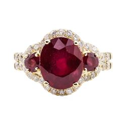 5.01 ctw Ruby and Diamond Ring - 14KT Yellow Gold