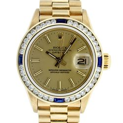 Rolex Ladies 18K Yellow Gold Sapphire And Champagne Index President Wristwatch W