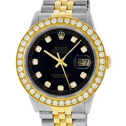Rolex Mens 2 Tone 18K Black Diamond Oyster Perpetual Datejust Wristwatch 36MM