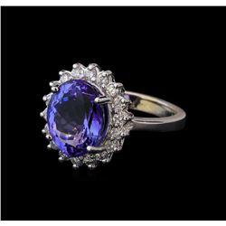 5.18 ctw Tanzanite and Diamond Ring - 14KT White Gold
