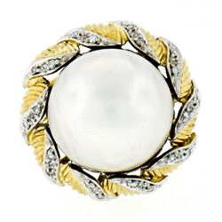 Vintage Handmade 18kt Two Tone Gold Mabe Pearl & 0.25 ctw Diamond Ring