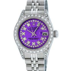 Rolex Ladies Stainless Steel Quickset Purple String Diamond Lugs Datejust Wristw