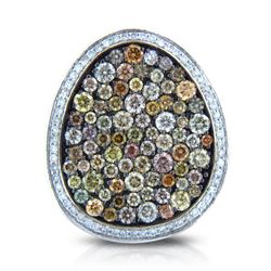 14k White Gold  2.58CTW Diamond and Multicolor Dia Pendant