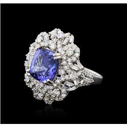 14KT White Gold 4.55 ctw Tanzanite and Diamond Ring