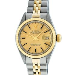 Rolex Ladies 2 Tone Champagne Index 26MM Oyster Perpetual Datejust Wristwatch