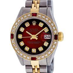 Rolex Ladies 2 Tone Red Vignette Diamond & Ruby 26MM Datejust Wristwatch