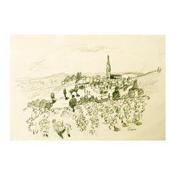 "Wayne Ensrud ""Fleurie in Beaujolais, France"" Pencil Original Artwork; Hand Signe"