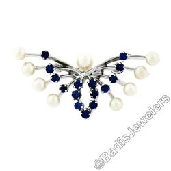 Estate 10kt White Gold 1.00 ctw Sapphire & Pearl Open Butterfly Brooch or Pendan