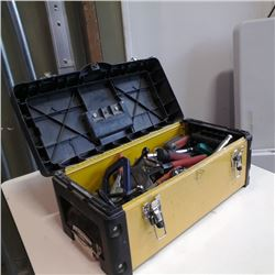 Yellow and black toolbox with contents