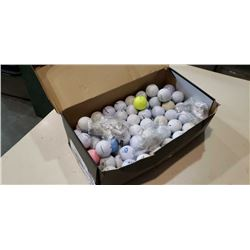 Box of experienced golf balls