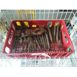 CRATE OF ANTIQUE RAIL WAY SPIKES AND SWIVEL HOOK