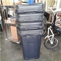4 BLACK GARBAGE CANS NO LIDS
