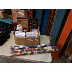 Box of christmas collectibles and decorations