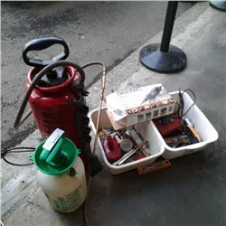 METAL SPRAYER, PLASTIC SPRAYER AND TWO TOTES OF TOOLS