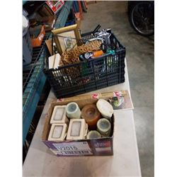CRATE OF ESTATE GOODS, FISHING LINE, CHESS PIECE MOULDS, BOX OF CANDLES