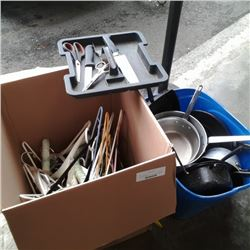 TOTE OF ALUMINUM POTS AND CAMP COOKWARE WITH BOX OF HANGERS