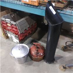 ALUMINUM POT WITH LID, GAS GAN AND 3FT EXHAUST PIPE