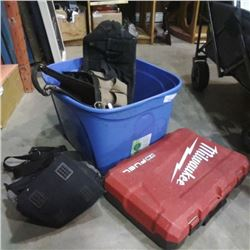 TOTE WITH MILWAUKEE FUEL CASE AND TOOLBAGS