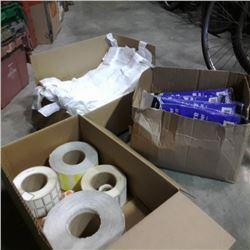 3 BOXES OF DISPOSABLE COVERALLS, LABELS ANS PLASTIC BAGS