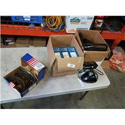BOX OF ELECTRONICS AND BOX OF RELINED BRAKE SHOES