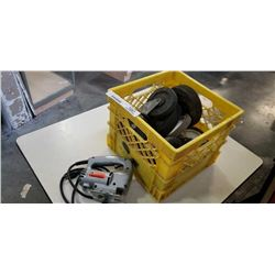 TOTE OF CASTORS AND BLACK AND DECKER JIGSAW