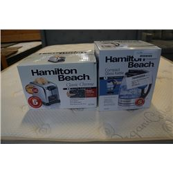 AS NEW HAMILTON BEACH COMPACT GLASS KETTLE AND CLASSIC CHROME TOASTER - WORKING