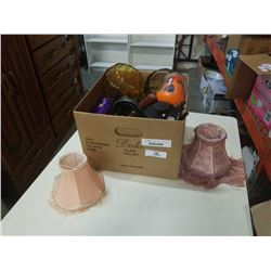Box of vintage collectible, amber glass, lamp and more