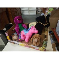 TRAY OF KIDS TOYS, CABBAGE PATCH KIDS SHOW PONY, MY LITTLE PONY, BARNEY AND OTHERS