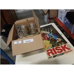 BOX OF COLLECTOR PLATES, MCM GLASSES ON STAND, SMALL WHISKEY JUGS, RISK BOARD GAME