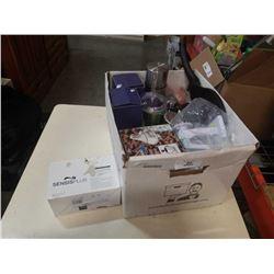 Box of slicer/peeler, hersheys fondue set, pancake pan, water bottles and more