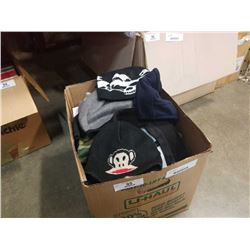 Box of toques and fleece vests