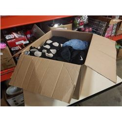 BOX OF MENS AND WOMENS CLOTHING - VARIOUS SIZES