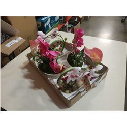 LOT OF ARTIFICIAL ORCHIDS IN CERAMIC DISHES