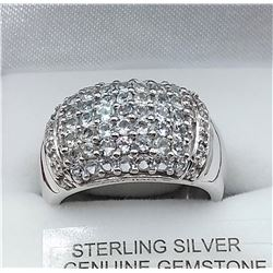 STERLING SILVER GENUINE AQUAMARINE  AND WHITE SAPHIRE RING W/ APPRAISAL $1305 - SIZE 8, 49 (0.5CTS)