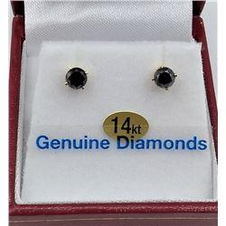 14KT YELLOW DIAMOND STUD EARRINGS RETAIL -  $945 - 0.2CTS DIAMOND