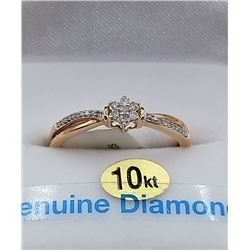 10KT ROSE GOLD DIAMOND STAR RING W/ APPRAISAL $1615 - SIZE 6.75, 27 DIAMONDS (0.10CTS)
