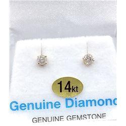 14KT YELLOW GOLD DIAMOND STUD EARRINGS W/ APPRAISAL $945 - .02CTS DIAMOND BIRTHSTONE APRIL