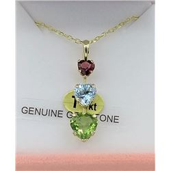 14KT YELLOW GOLD GENUINE PERIDOT, AQUAMARINE, AND GARNET TRIPLE HEART PENDANT W/ 16in STERLING GOLD