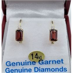 14KT YELLOW GOLD 4X6MM GENUINE GARNET AND DIAMOND LEVER-BACK EARRINGS W/ APPRAISAL $1200 - 1.4CTS GA