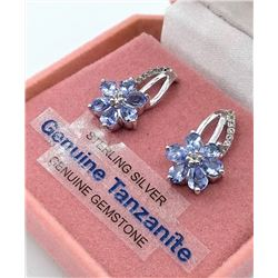 STERLING SILVER GENUINE TANZANITE AND WHITE TOPAZ EARRINGS W/ APPRAISAL $920 - 12 TANZANITE (1.45CT)