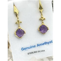 STERLING SILVER YELLOW GOLD PLATED 8X8MM GENUINE AMETHYS EARRINGS W/ APPRAISAL $300 - 3.5CTS AMETHYS