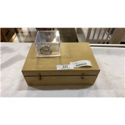 WOODEN BOX W/ PINS AND CASE OF CUFFLINKS AND WATCH