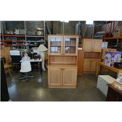 PINE 2 PIECE CABINET WITH GLASS DOORS