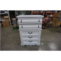 PAINTED WHITE 5 DRAWER CHEST OF DRAWERS